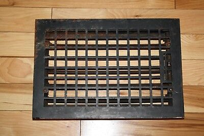 """Vintage Cast Iron Louvered Floor Grate Vent Rusty Patina 15.75""""L x 10.75""""W"""