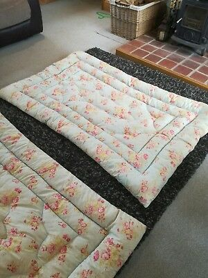 Vintage feather eiderdown X 2 Two Beautiful matching Singles Lovely Floral...