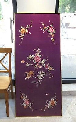 FINE LARGE ANTIQUE SILK Chinese EMBROIDERED PANEL with FISH