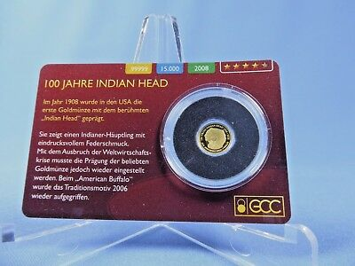 Cook Inseln 1 $ 2008 , Indian Head , *0,5 Gramm-999 Gold* Proof  (18047C)