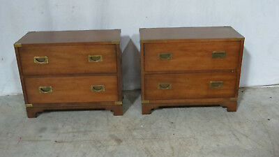 Pair Campaign Henredon Nightstands Tables