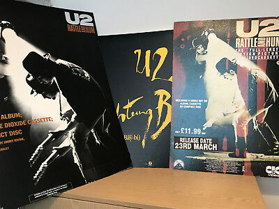 3 x Large Vintage U2 Shop Display Sign Posters - 2 x Rattle & Hum - Achtung Baby