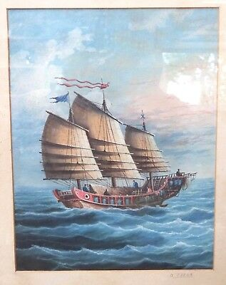 ORIGINAL ANTIQUE SIGNED CANTONESE PAINTING of BOATS HONG KONG