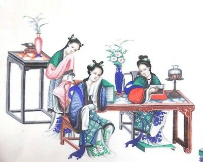 1800s VERY FINE and DETAILED antique CHINESE PAINTING ON PAPER