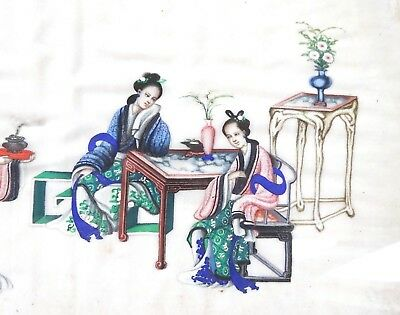 GOOD 1800s FINE and DETAILED antique CHINESE PAINTING ON PAPER