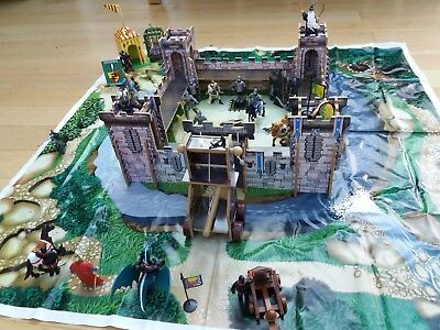 Chad Valley Wooden Castle And Figures Plus Large Floormat