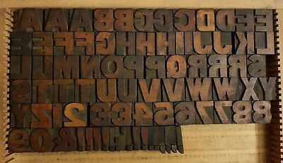 34mm Wooden Type Printing Blocks, Wood Letters by HM Sellers & Co, Sheffield