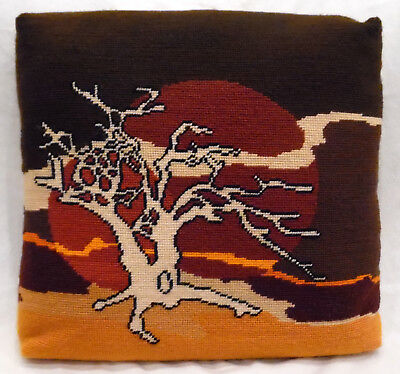 pillow needlepoint handcrafted brown tree & moon rectangular