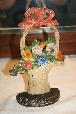 Antique Hubley #69 French Basket of Flowers Door Stop Cast Iron Original Paint