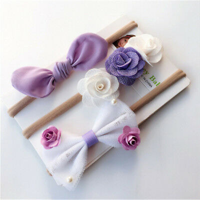 3pcs Kids Girls Baby Headband Toddler Bow Flower Band Accessories Headwear QWHN