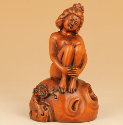 Rare chinese Old boxwood hand carving Belle statue Home decoration Noble gift