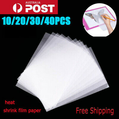 10/20/30/40x Heat Shrink Paper Film Sheets for Jewelry Craft Deco Rough Polish