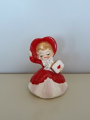 Vintage Lefton Girl With Heart Gift In Red. #033