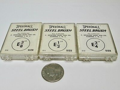 """Mixed Lot 3 Speedball Steel Brushes 3/8"""" 1/2"""" 3/4"""" in Plastic Cases"""
