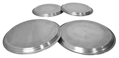 4 Hob Cover Set Stainless Steel Metal Silver Chrome Electric Cooker Ring Lid