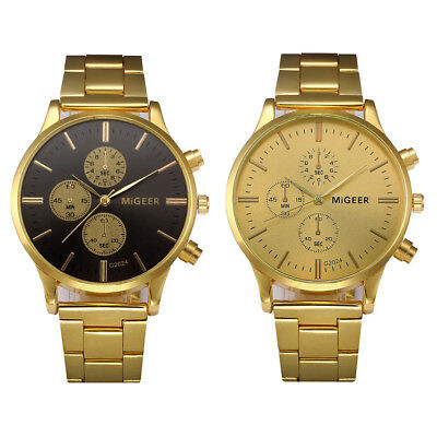 Fashion Migeer Man Crystal Stainless Steel Analog Quartz Bracelet Wrist Watch UK
