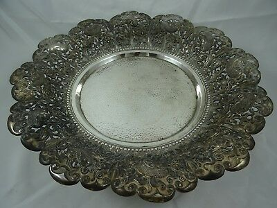LARGE INDONESIAN solid silver FRUIT BOWL, c1930, 724gm