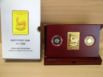 Investment Coin - Set Malawi 2009 PP 1/25 Unze Gold + Silber Springbock + Box