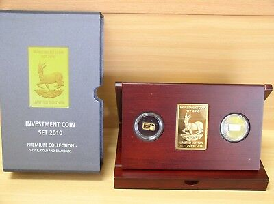 Investment Coin - Set Malawi 2010 PP 1/20 Unze Gold + Silber Springbock + Box