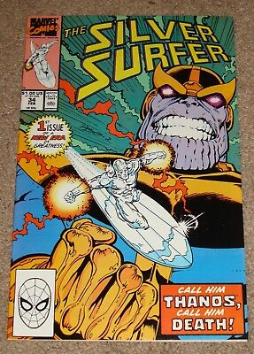 Marvel Comics The Silver Surfer #34 Thanos Ressurected Starlin 1990 No Reserve!