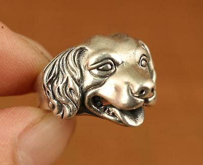 Fine rare old silver S925 hand carving dog statue ring Noble gift