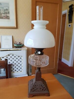 Antique Vintage Paraffin Oil Lamp Lantern & Metal Stand Converted to Electric