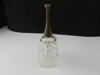 "Royal Crystal Rock London Cut Glass Bell with Metal Handle 6 3/4"" T"