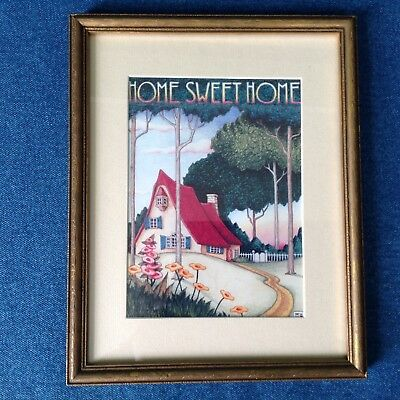 Mary Engelbreit Home Sweet Home print in vintage frame with mat