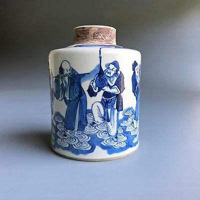 RARE! antique CHINESE IMMORTALS TEA CADDY 18th century KANGXI porcelain