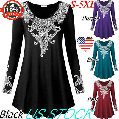 Womens Long Sleeve Round Neck Tunic Swing Tops Pullover Floral Blouse Plus S-5XL
