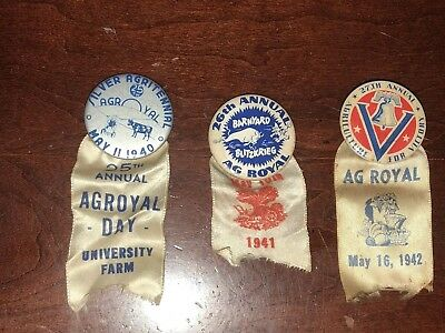3 Vintage Minnesota WWII Ag for Victory Pins With Ribbons 1940-41-42