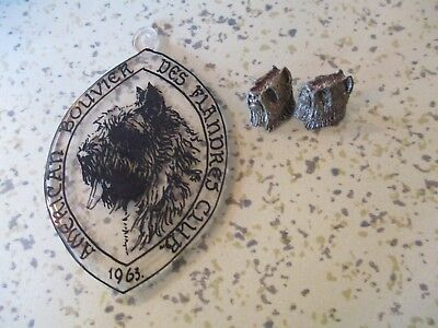 Bouvier Des Flanders Pewter Earrings & 1963 American Bouvier Club Pendant