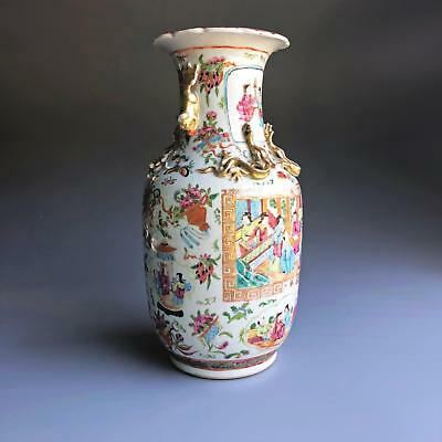 Large 36,5CM! antique Chinese porcelain FAMILLE ROSE VASE 19th Century Canton