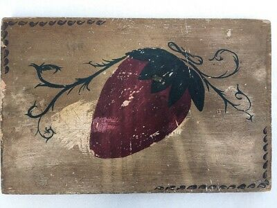 Rare Old Antique 19th C Folk Art Americana Polychrome Painting Panel Strawberry