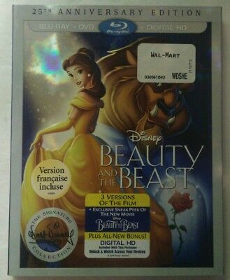 Beauty and the Beast (Blu-ray/DVD, 2016, 25th Anniversary Edition, Slipcover)