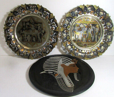 Egyptian Style Copper Brass and Other Metal Set of 3 Decorative Vintage Plates