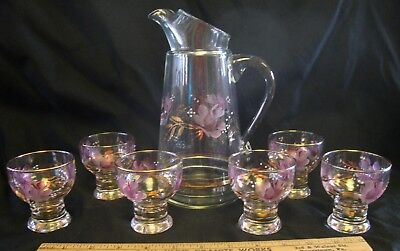 Vintage Glass Pitcher & 6 Small Juice/Aperitif Glasses - Pink/Purple Flowers