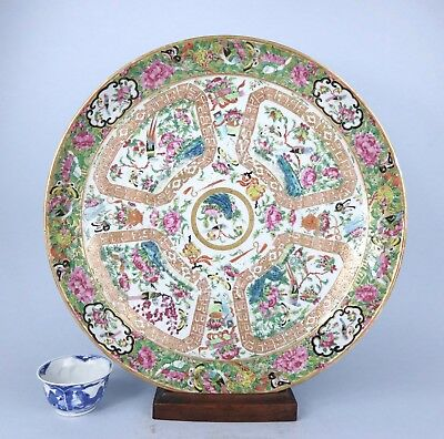 GOOD LARGE FAMILLE ROSE 19thc CHARGER in GOOD CONDITION