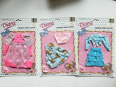 "Diana Clothes Outfits For 11.5"" Dolls  Casual Fashions  Fits Barbie Nos - 3 Sets"