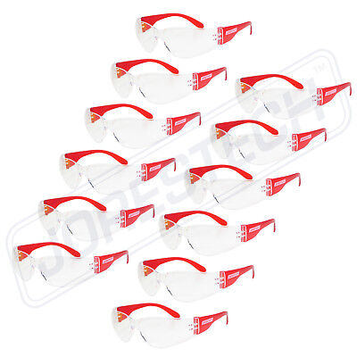 JORESTECH Vision Red frame clear Lens Safety Glasses Sunglasses Z87+ 12PACK