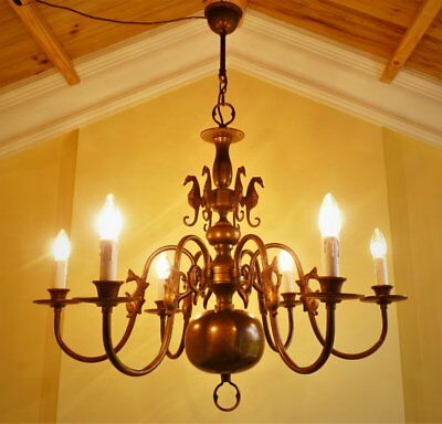 Huge ! Antqiue Vintage French Chic Brass Flemish 6 Lamp Ceiling Light Chandelier