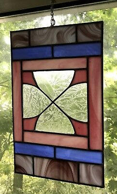 Vintage Stained Glass- Pink, Blue, Grey