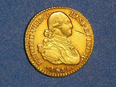 COLOMBIA 1811NR-JF 1 Escudo GOLD VF-XF