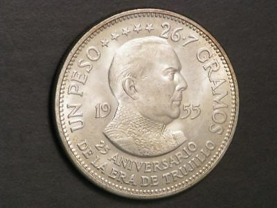 DOMINICAN REPUBLIC 1955 1 Peso Trujillo Silver Crown BU