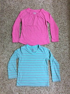Lot of 2, Girl's Long Sleeve Shirts Pink/Teal/Grey (Circo, Faded Glory), 6/6x
