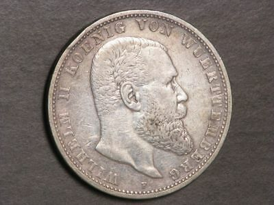 GERMANY-WURTTEMBERG 1907F 5 Mark Silver Crown VF
