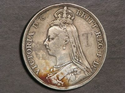 GREAT BRITAIN 1890 1 Crown Victoria Silver Fine