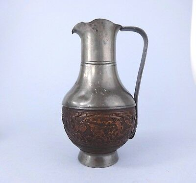 ANTIQUE CHINESE PEWTER Jug with CARVED NUT BODY