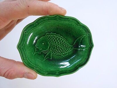VERY FINE Antique ORIENTAL GREEN DISH with RAISED DECORATION PERFECT carp fish