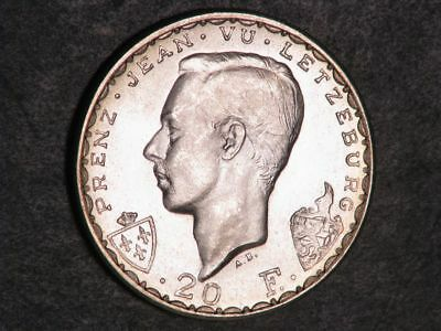 LUXEMBOURG 1946 20 Francs John the Blind Silver BU